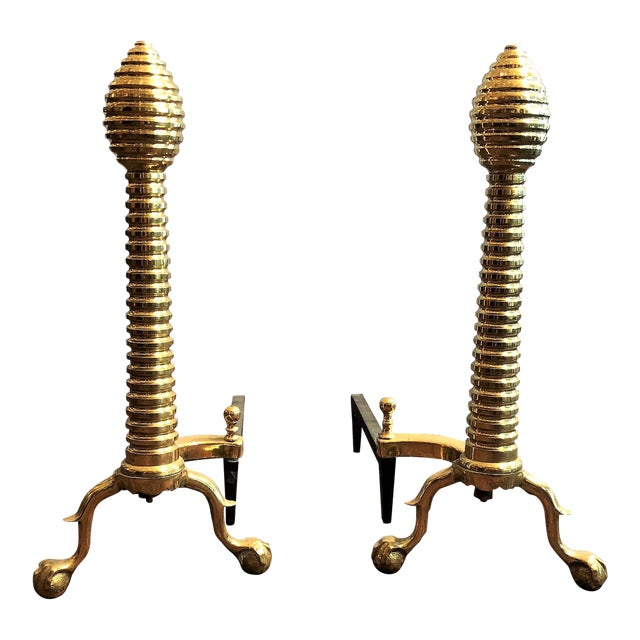 """Pair Antique English Polished Brass """"Beehive"""" Andirons, Circa 1880. For Sale"""