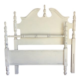 White Hand Painted Twin Bed