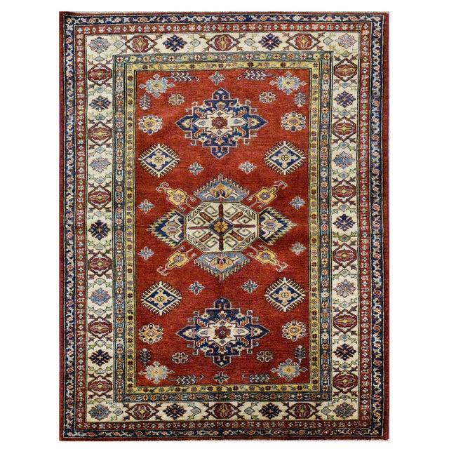 Afghan Kazak Wool Rug - 4'x6'2'' For Sale - Image 4 of 4