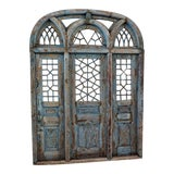Image of Rustic Blue Jodhpur Church Door With Mirror For Sale