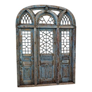 Rustic Blue Jodhpur Church Door With Mirror For Sale