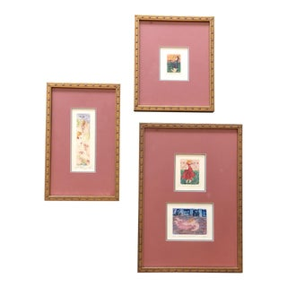 Gallery Wall Collection 3 Original Miniature Colored Etchings Signed For Sale