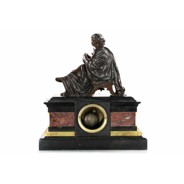 Traditional J.E. Caldwell Mantel Clock With Bronze Sculpture of a Cartographer - Image 3 of 10