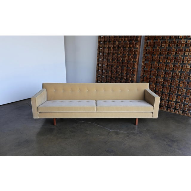 Mahogany Vintage Mid Century Edward Wormley for Dunbar Bracket Back Sofa For Sale - Image 7 of 10