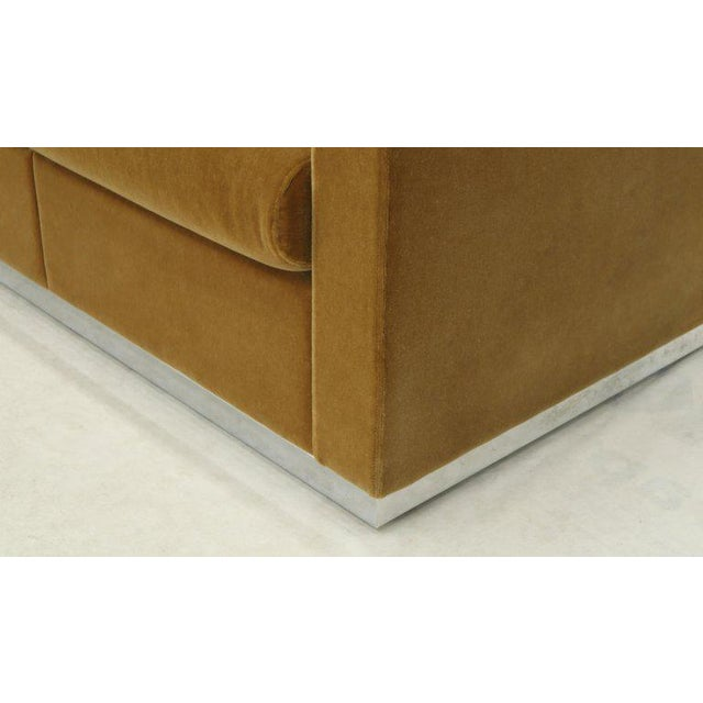 Metal Mohair Loveseat on High Polish Stainless Steel Base Ward Bennet for Brickel For Sale - Image 7 of 12