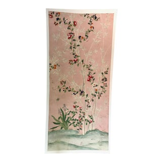Chinoiserie Handpainted Wallpaper Panel, Pink Ground With Bamboo Motif For Sale