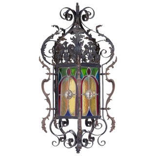 Mid 19th Century Wrought Iron Stained Glass Lantern For Sale
