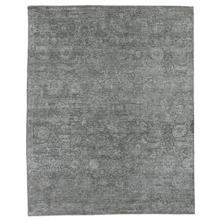 Bryant Silver/Gray Hand knotted Wool/Viscose/Cotton Area Rug - 9'x12' For Sale