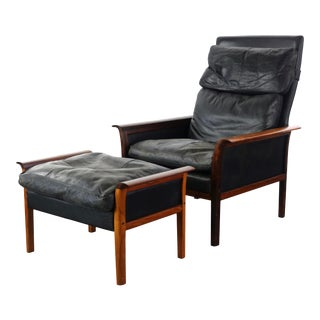 Knud Saeter for Vatne Leather Lounge Chair With Ottoman in Aged Leather and Rosewood For Sale