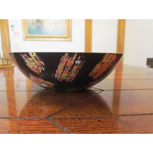 Hand-Carved Mixed Media Maplewood Art Bowl For Sale - Image 4 of 10
