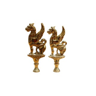 Large Brass Griffin Lamp Finials - a Pair For Sale