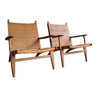 Pair of Model CH-27 Oak and Cane Lounge Chairs by Hans J. Wegner