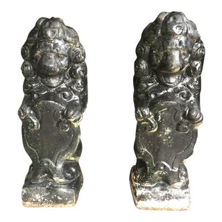 Antique Black Stone Lion Foo Dogs - A Pair For Sale