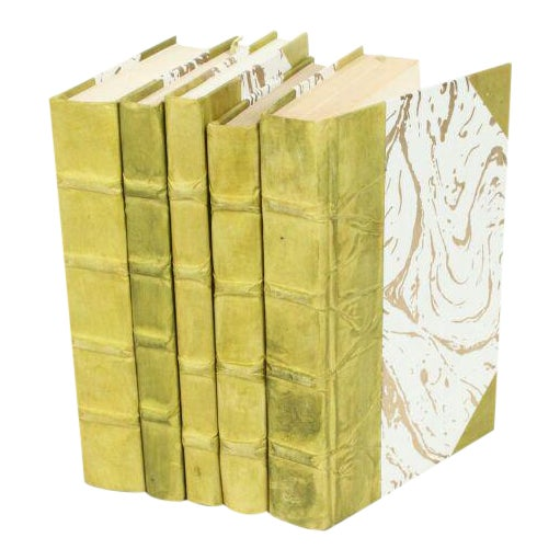 Parchment Collection Light Green Books - Set of 5 For Sale