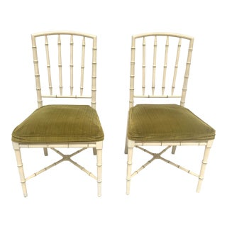 20th Century Hollywood Regency Drexel Heritage Faux Bamboo Chairs - a Pair For Sale