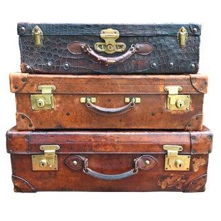 English Edwardian Leather Suitcases - Set of 3 For Sale
