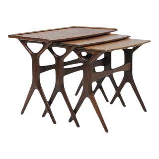 Johannes Andersen Cfc Silkeborg Mid-Century Modern Danish Teak Nesting Tables - Set of 3 For Sale