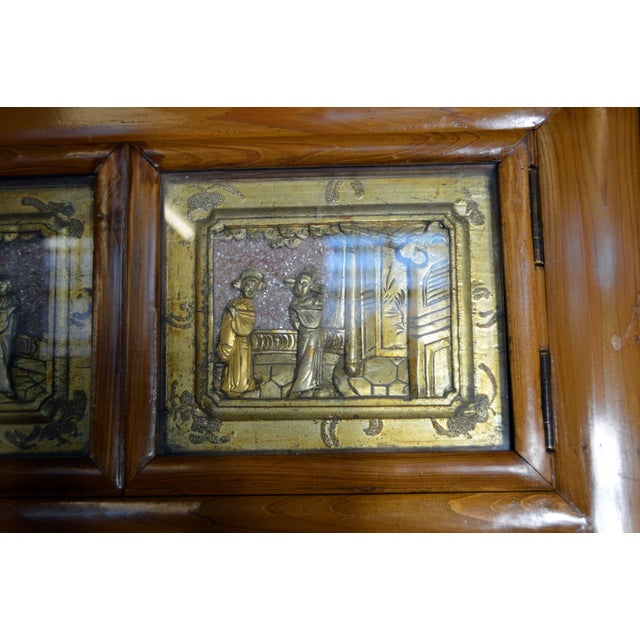 Early 20th Century Chinese Lacquered Armoire With Gilt Carved Warrior Motifs For Sale - Image 10 of 13