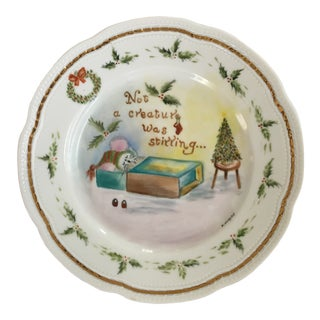 """Mid Century Richard Ginori """"Twas the Night..."""" Murat White Hand Painted Porcelain Plate-Made in Italy For Sale"""