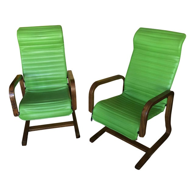 Thonet Bentwood Lounge Chairs in Green - A Pair - Image 1 of 8