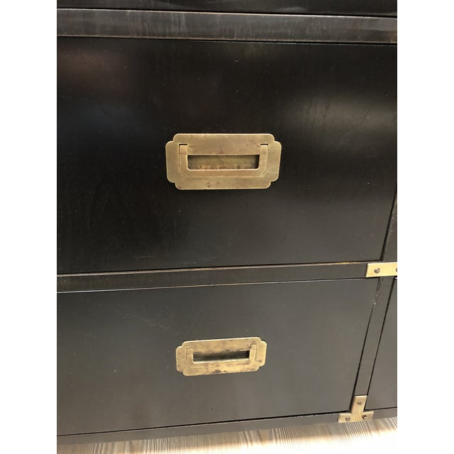 Black Late 20th Century Black Campaign Style Wide Dresser For Sale - Image 8 of 13