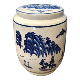 Blue and White Ceramic Chinoiserie Garden Stool For Sale
