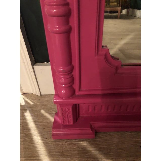 2010s Hot Pink Lacquered Hand-Carved Solid Mahogany Floor Mirror For Sale - Image 5 of 9