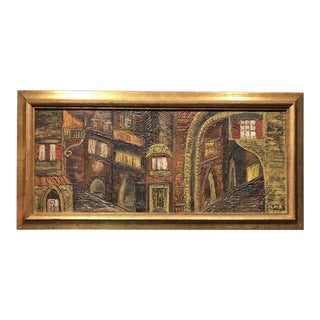 Vintage Impasto Painting Village at Night For Sale