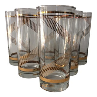 Twisted Gold Striped 16 Oz. Highball Glasses- Set of 6