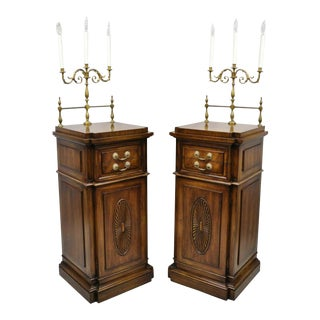 20th Century Empire Karges Mahogany Tall Pedestal Side Cabinets - a Pair For Sale