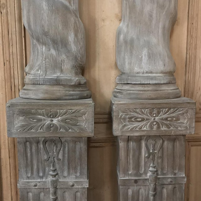 Late 19th Century Pair French Architectural Corinthian Weathered Oak Hand Carved Columns, Ca. 1890s For Sale - Image 5 of 13