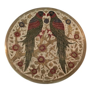 Love Birds Brass Plate With Enamel Inlay For Sale