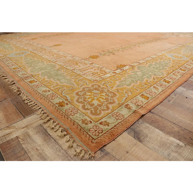 Late 19th Century Antique Turkish Oushak Rug - 10'09 X 13'03 For Sale In Dallas - Image 6 of 10