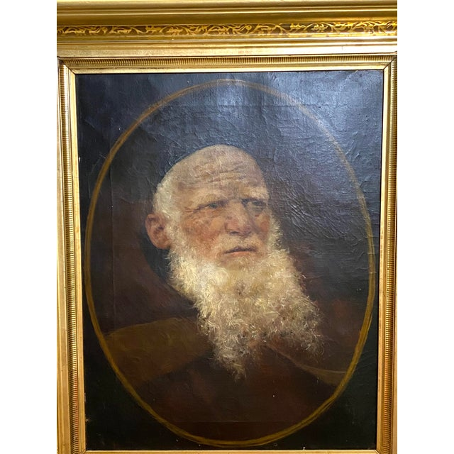 Antique 19th C. Oil on Canvas Portrait of a Jewish Man Hebrew Beautiful Frame Typical condition for age. No repairs...