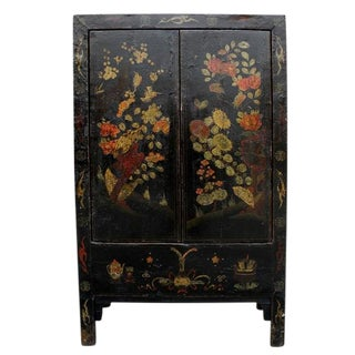 19th Century Chinoiserie-Style Black Elm Cabinet
