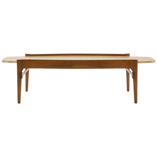 Coffee Table by Bertha Schaefer, Walnut With Travertine Top For Sale