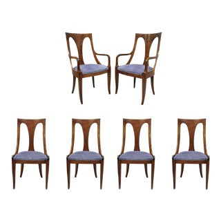 Vintage Mid Century Walnut Regency Style Curved Back Dining Room Chairs- Set of 6 For Sale