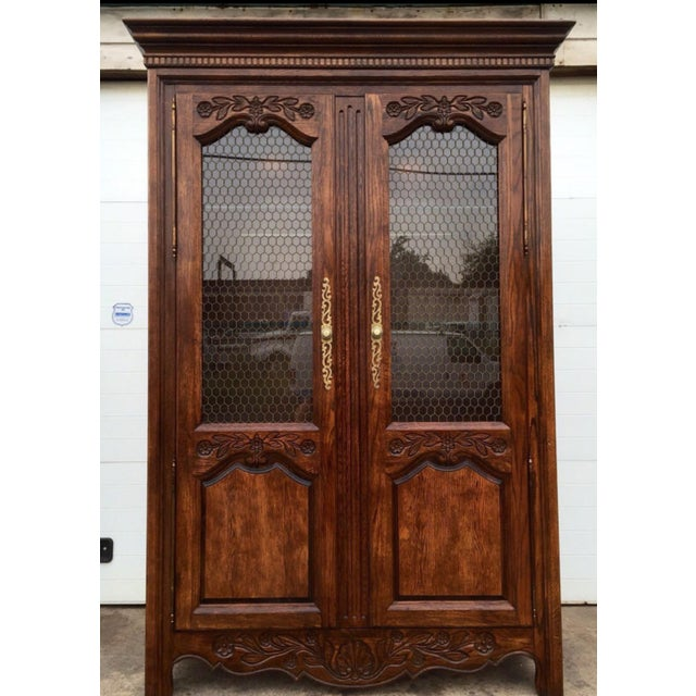 French Country Hickory Illuminated Armoire Cabinet