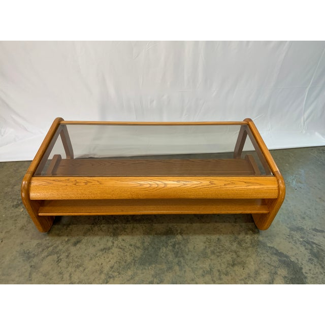 Lou Hodges 1970s Mid-Century Modern Lou Hodges Oak Coffee Table For Sale - Image 4 of 7