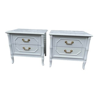 Newly Lacquered Vintage Broyhill Faux Bamboo Nightstands a Pair For Sale