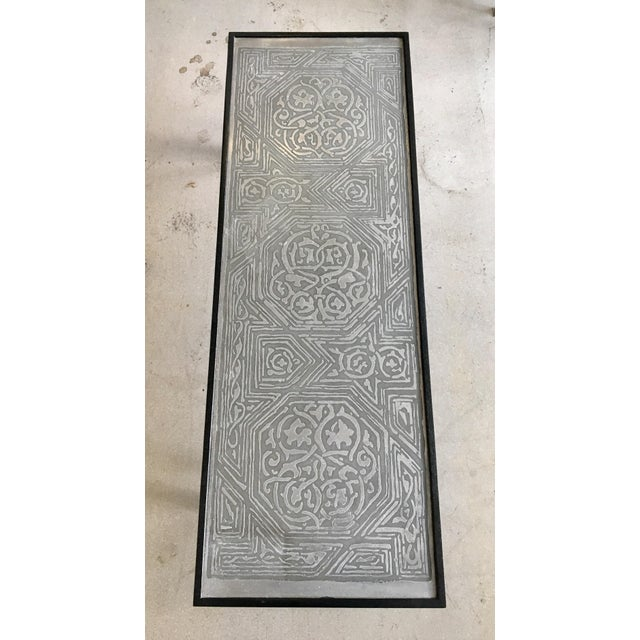 Contemporary Coffee Table With Etched Metal Inlay and Ebonized Wood Frame For Sale In West Palm - Image 6 of 12