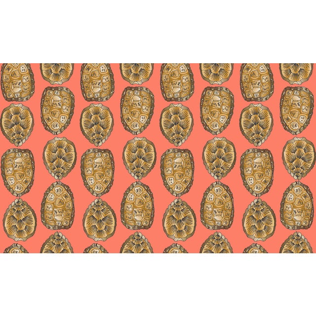 Turtle Shell Salmon Linen Cotton Fabric, 3 Yards For Sale