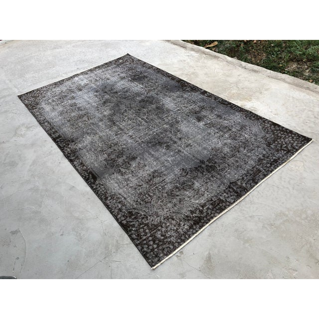 Industrial Turkish Vintage Wool Dark Gray Rug - 5′5″ × 9′3″ For Sale - Image 3 of 11