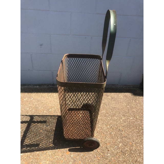 Vintage Rustic Metal Mesh Rolling Basket For Sale - Image 4 of 7