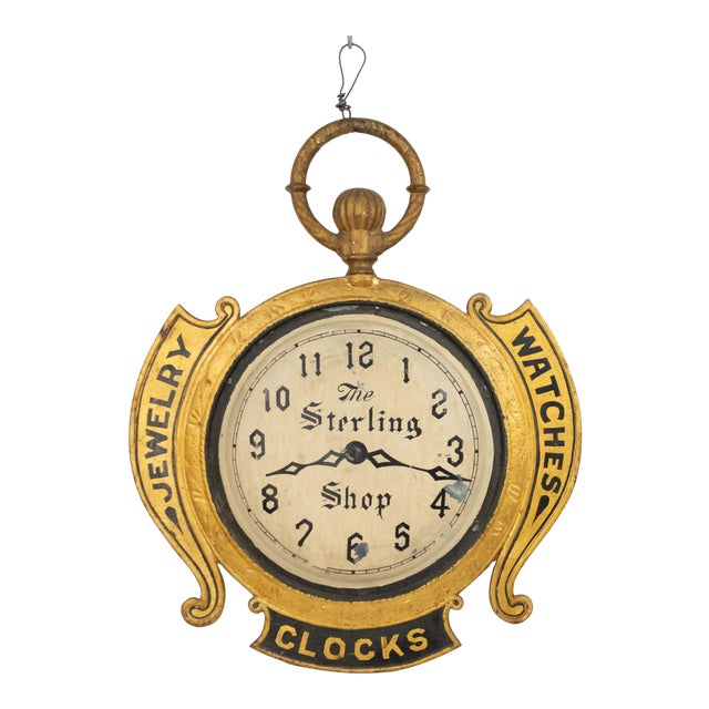 American Country Tole Gold Clock Sign For Sale