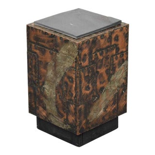 20th Century Brutalist Paul Evans Patchwork Cube Side Table For Sale