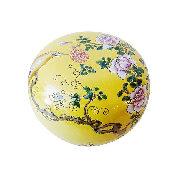 Famille Jaune Large Porcelain Box For Sale