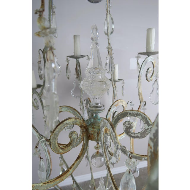Rococo Monumental Painted Wrought Iron Crystal Chandelier For Sale - Image 3 of 11