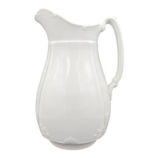 19th Century English Alfred Meakin White Ironstone Pitcher For Sale
