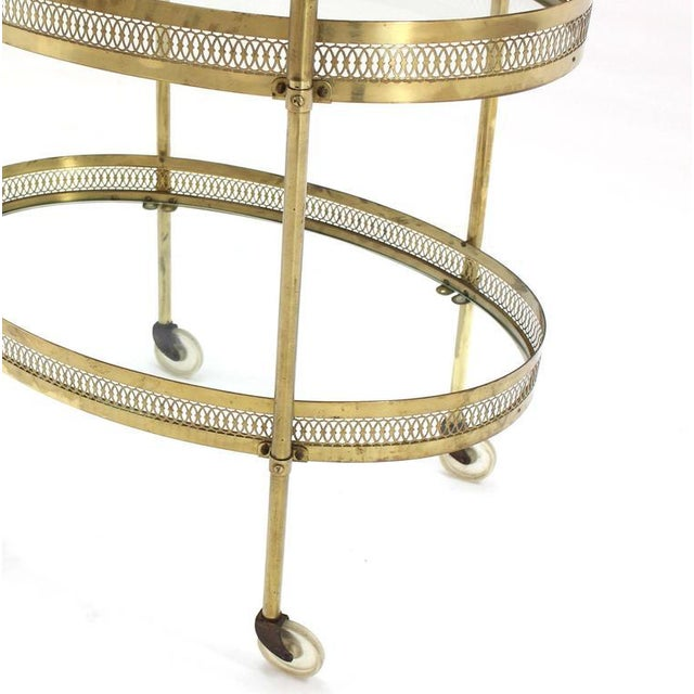 Oval Pierced Brass & Glass Two-Tier Tea Serving Cart on Wheels For Sale In New York - Image 6 of 8